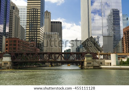 Down the Chicago River as the Summer sun shines into the city.  Chicago, Illinois, U.S.A