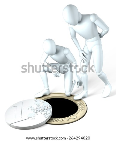 Down the drain - Two figures looking looking down a drain formed by a deconstructed euro coin on white - stock photo