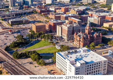 Down town Dallas and Dealey Plaza in Texas - stock photo