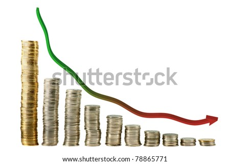 down trand graph from coin - stock photo