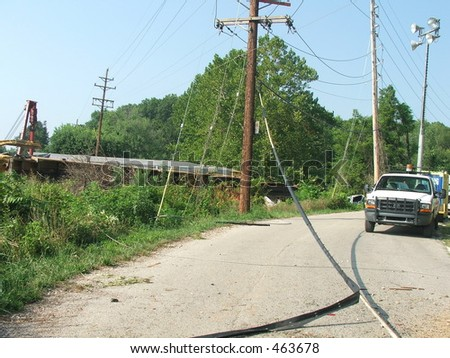 downed power line - stock photo