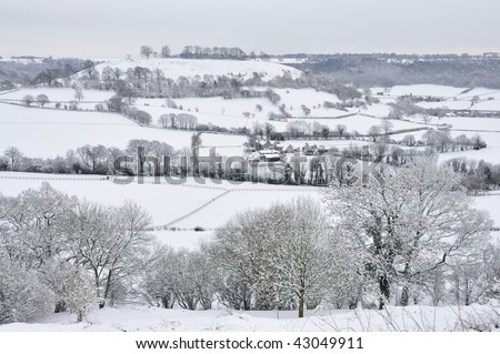 Downham Hill in Snow, seen from Cam Long Down - stock photo