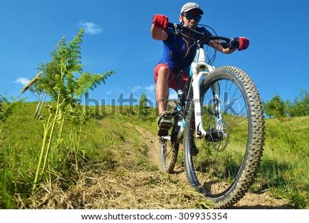 downhill rider  - stock photo