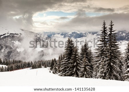 Downhill Ski Slope near Megeve in French Alps, France - stock photo