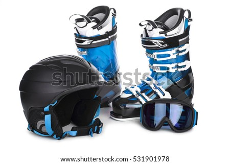 Downhill skiing equipment isolated on white