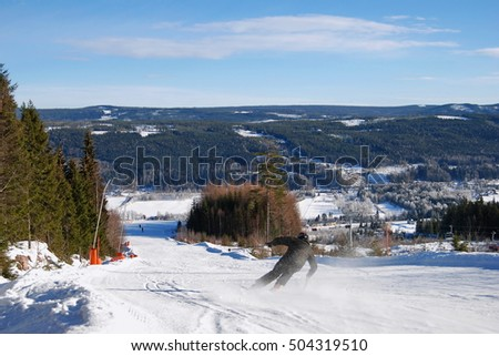 Downhill skiing in Branas Varmland, Sweden. During february in 2016