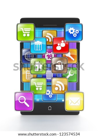 Download apps for your mobile phone. Mobile phone and a group of applications in the form of icons go outside. On a white background - stock photo