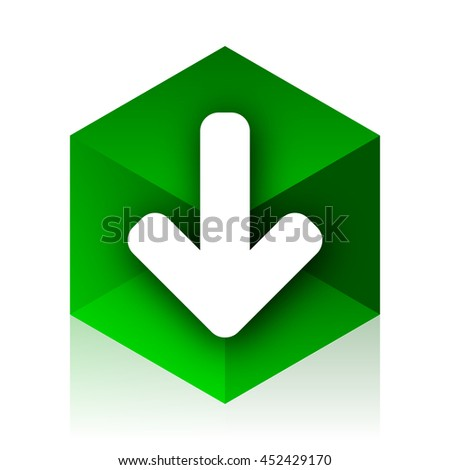 download arrow cube icon, green modern design web element - stock photo