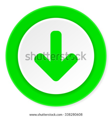 download arrow green fresh circle 3d modern flat design icon on white background  - stock photo