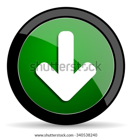 download arrow green web glossy circle icon on white background  - stock photo