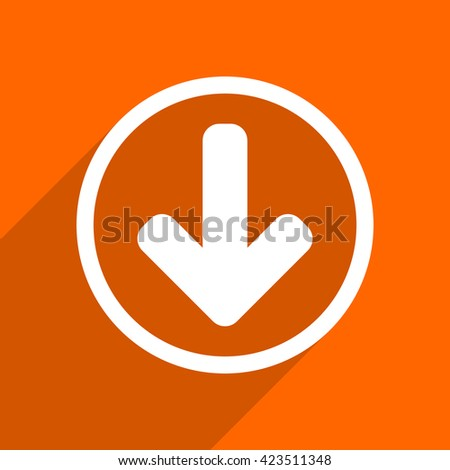 download arrow icon. Orange flat button. Web and mobile app design illustration - stock photo