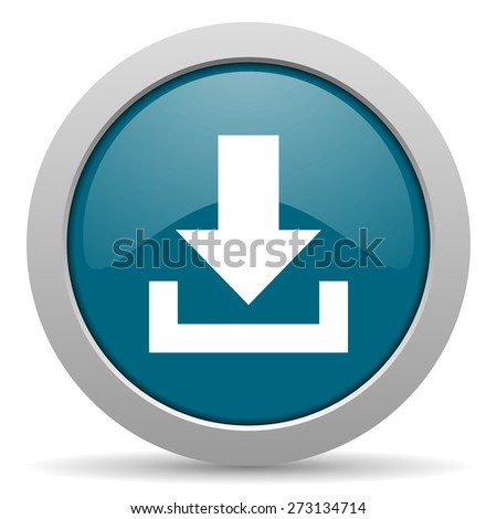 download blue glossy web icon  - stock photo