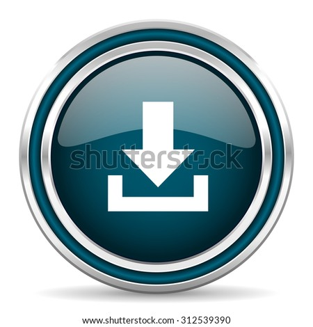 download blue glossy web icon with double chrome border on white background with shadow    - stock photo