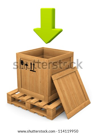 Download concept. Open wooden box on pallet and lid. Green arrow. Isolated on white. - stock photo