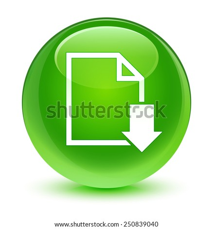 Download document icon glassy green button - stock photo