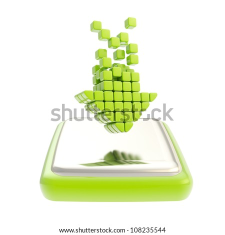 Download emblem icon as down green arrow over chrome glossy button isolated on white background - stock photo