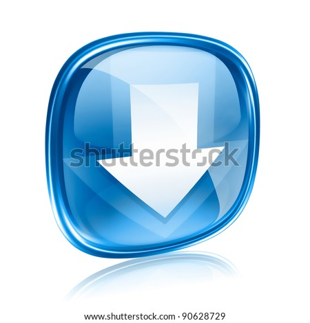 Download icon blue glass, isolated on white background. - stock photo