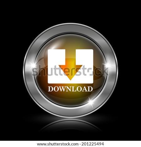 Download icon. Metallic internet button on black background.  - stock photo