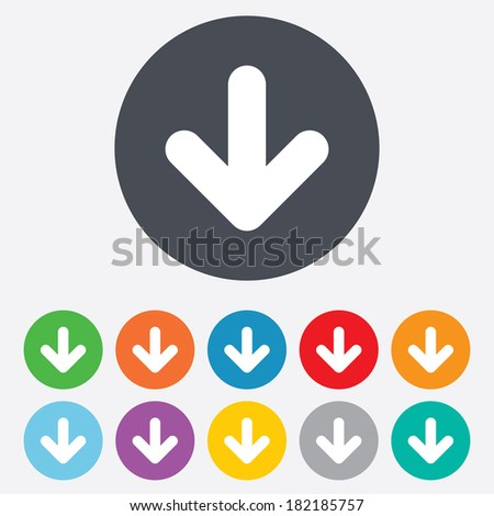 Download icon. Upload button. Load symbol. Round colourful 11 buttons.
