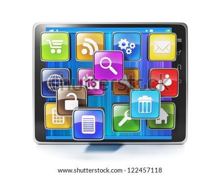 Download mobile app for your aypad. Icons in the form of mobile applications and tablet - stock photo
