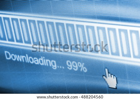 Download process bar on LCD screen with selective focus