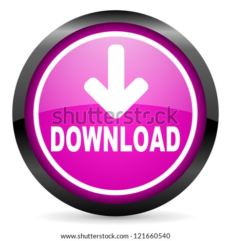 download violet glossy icon on white background