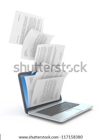 Downloading dcuments in laptop. 3d illustration. - stock photo