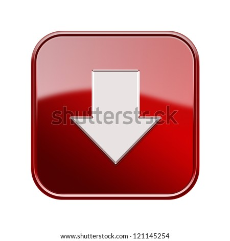 Downloads icon glossy red, isolated on white background - stock photo