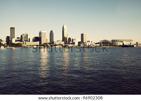 Downtonw of Cleveland, Ohio seen from Lake Erie - stock photo