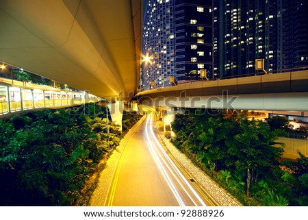 downtown area and overpass in hong kong - stock photo