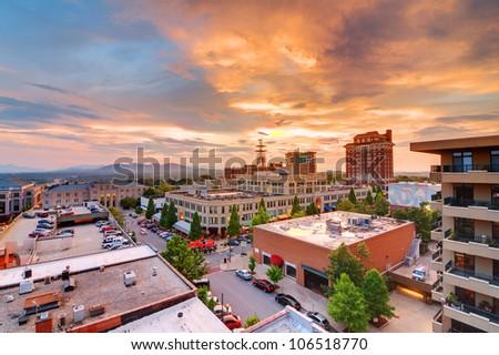 Downtown Asheville, North Carolina at Grove Arcade - stock photo