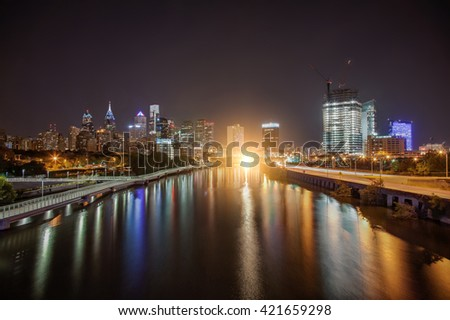 Downtown at night, Philadelphia PA - stock photo