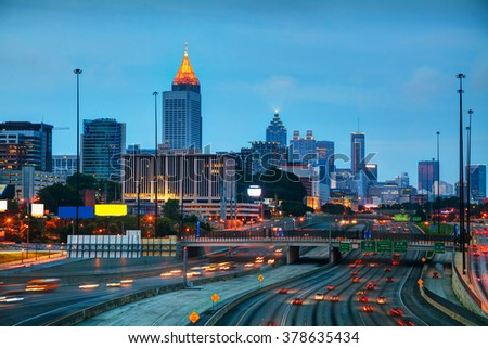 Downtown Atlanta, Georgia at the sunrise time - stock photo