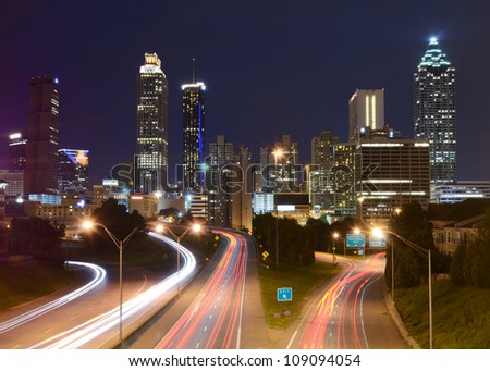 Downtown Atlanta, Georgia from above Freedom Parkway. - stock photo