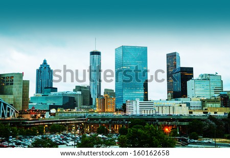 Downtown Atlanta, Georgia in the evening - stock photo