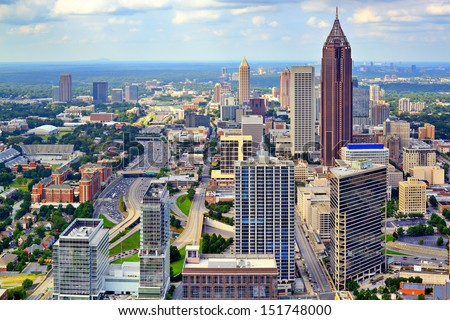 Downtown Atlanta, Georgia, USA skyline. - stock photo