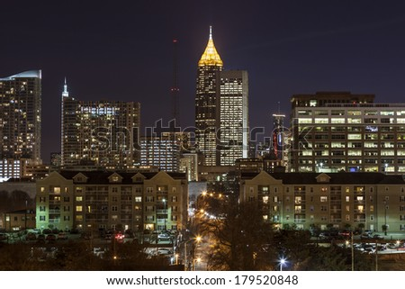 Downtown Atlanta night view from midtown.   - stock photo