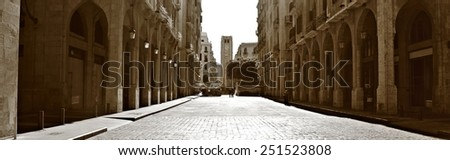 Downtown Beirut Panorama (in Sepia) - stock photo