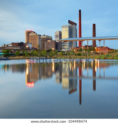 downtown birmingham, alabama skyline - stock photo