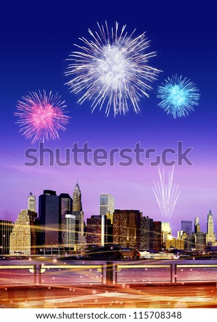Downtown Brooklyn skyline with fireworks in New York City at night - stock photo