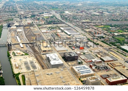 Downtown Chicago Aerial View , Illinois USA - stock photo