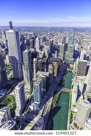 Downtown Chicago aerial view with skyscrapers and Chicago River