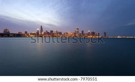 Downtown Chicago after sunset.