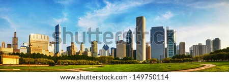 Downtown Chicago as seen from Grant park in the morning - stock photo