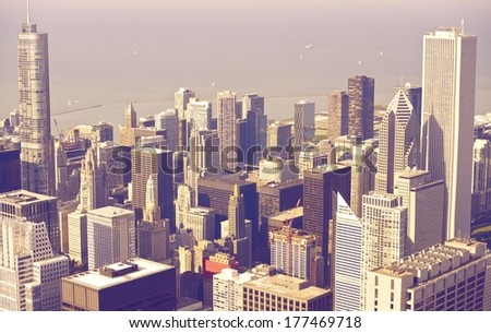 Downtown Chicago From Above in Ultraviolet Color Grading. Chicago, United States. - stock photo