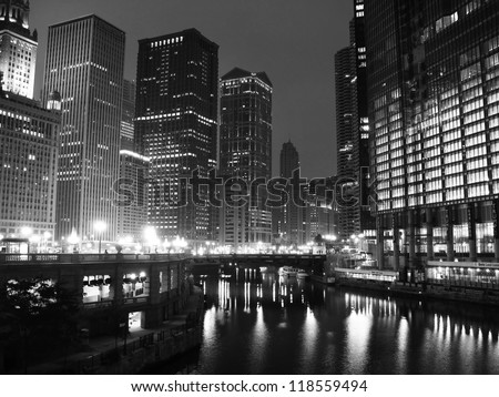 Downtown Chicago in black and white - stock photo
