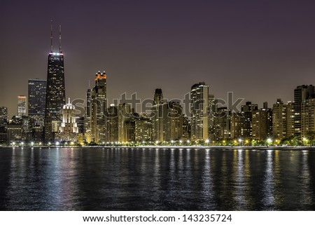 Downtown Chicago Magnificent Mile by night - stock photo