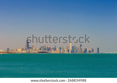 Downtown Chicago skyline day time - stock photo