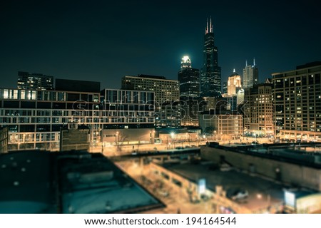Downtown Chicago South Side at Night. Chicago, Illinois, United States. - stock photo