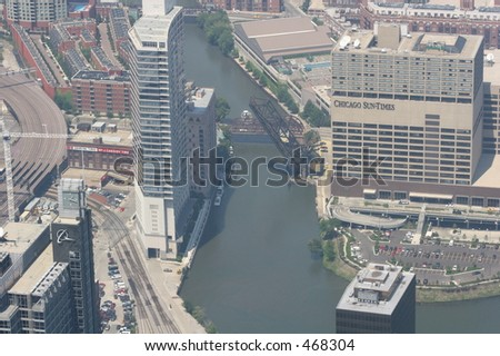 Downtown Chicago view from the Sears Tower - stock photo